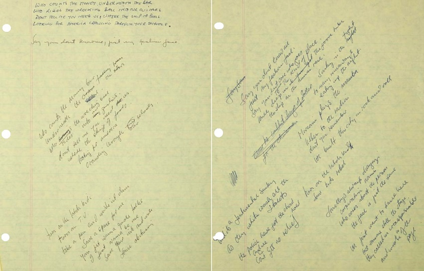 Bernie Taupin's original handwritten lyrics for the song are expected to sell for $6,000 - $8,000