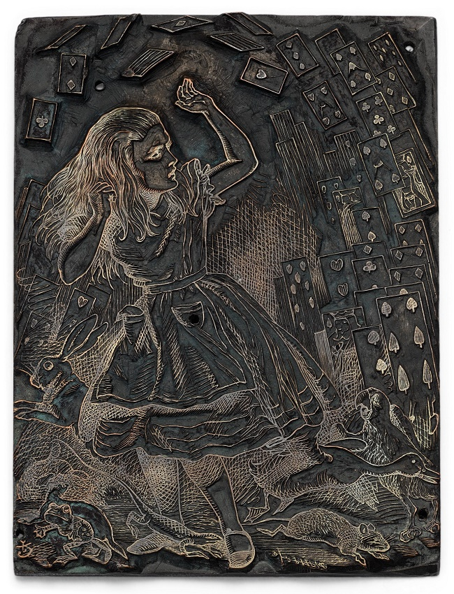 The engraved printing blocks feature the original illustrations of John Tenniel