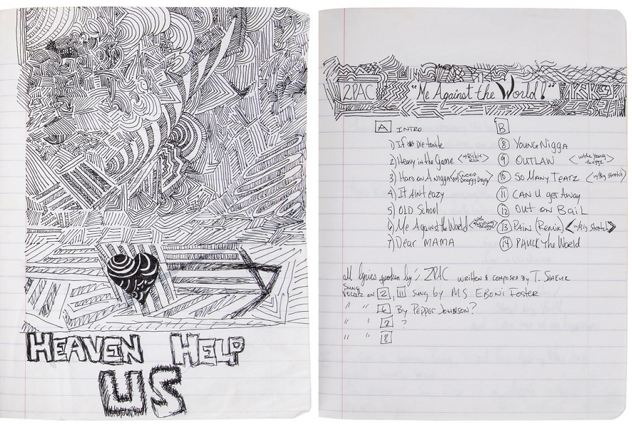 The auction also includes a complete notebook of Tupac's handwritten lyrics, poems and notes