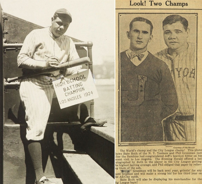 Babe Ruth signs the bat, which he later presented to high school batting champion Phil Grossman