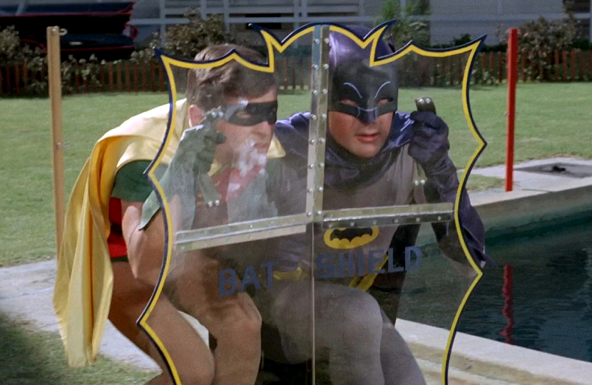 Batman always had the Bat-shield handy, although nobody knows where he kept it...