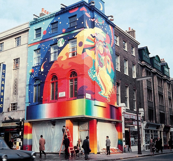 The Beatles' Apple boutique, featuring a massive mural by The Fool, which opened in London in 1967 and lasted just eight months.
