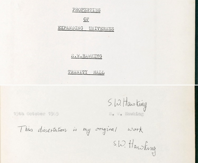 Hawking's PHD thesis - one of just 5 known copies - featured a highly rare example of his signature