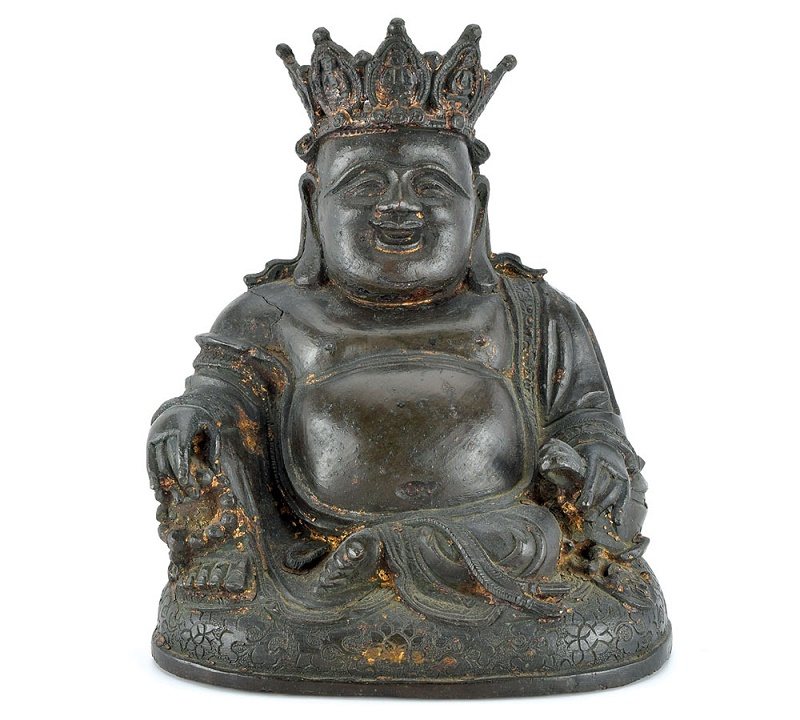 The ancient bronze Buddha statue is said to date from 1368-1644