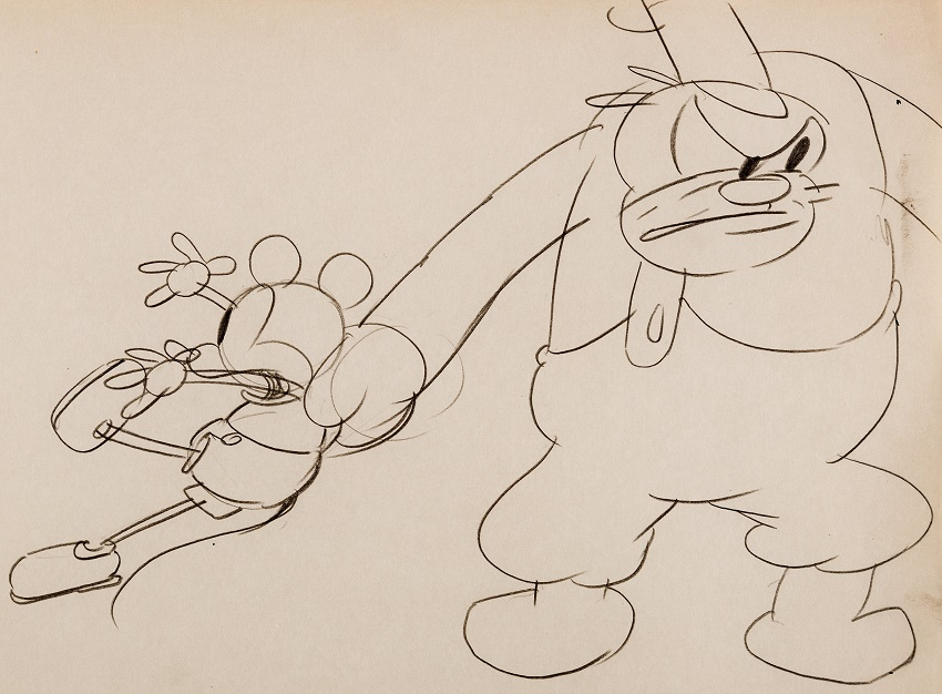 The rare drawing featuring both Mickey Mouse and Peg Leg Pete is expected to sell for more than $10,000