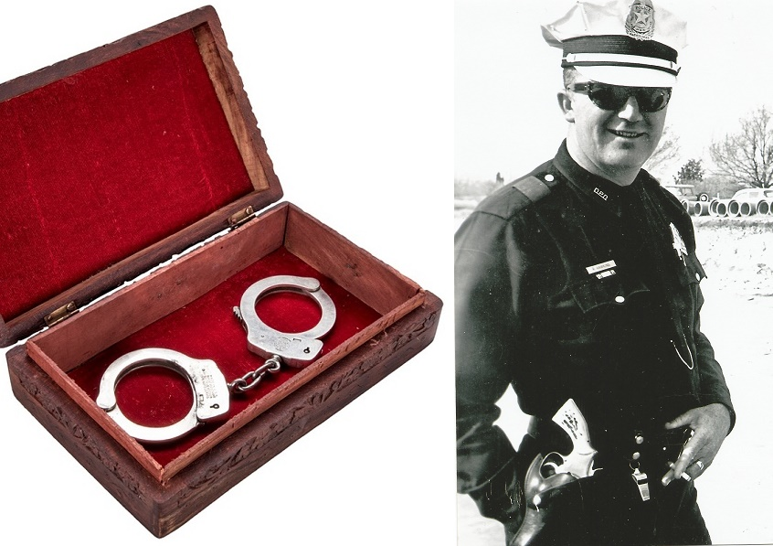 Ray Hawkins used the historic handcuffs throughout his 29-year career with the Dallas P.D