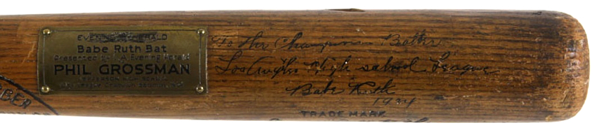 The bat bears Ruth's autograph and inscription, along with a special plaque commemorating the competition in 1924