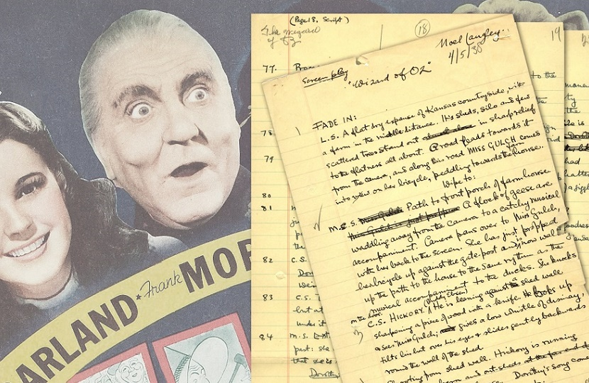 The original handwritten first draft script for The Wizard of Oz will hit the block at Profiles in History on December 11-14