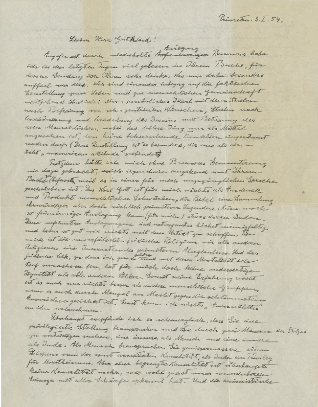 Written a year before his death in 1955, the letter is considered as Einstein's last word on his personal religious beliefs.