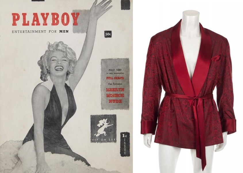 Hefner's personal copy of Playboy #1, and one of his signature custom silk smoking jackets