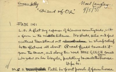 "The original handwritten first draft script of the Wizard of Oz had been described as ""perhaps the most important manuscript in Hollywood history"""