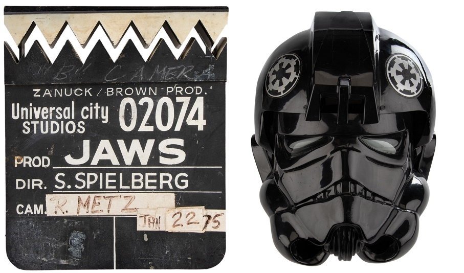 An original Jaws clapperboard, complete with jagged teeth; and a TIE Fighter pilot helmet worn in Star Wars