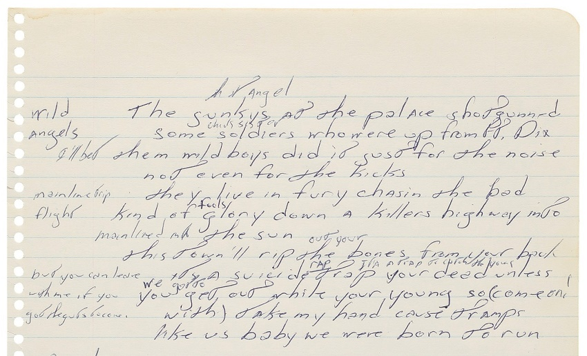 Bruce Springsteen's handwritten Born to Run lyrics
