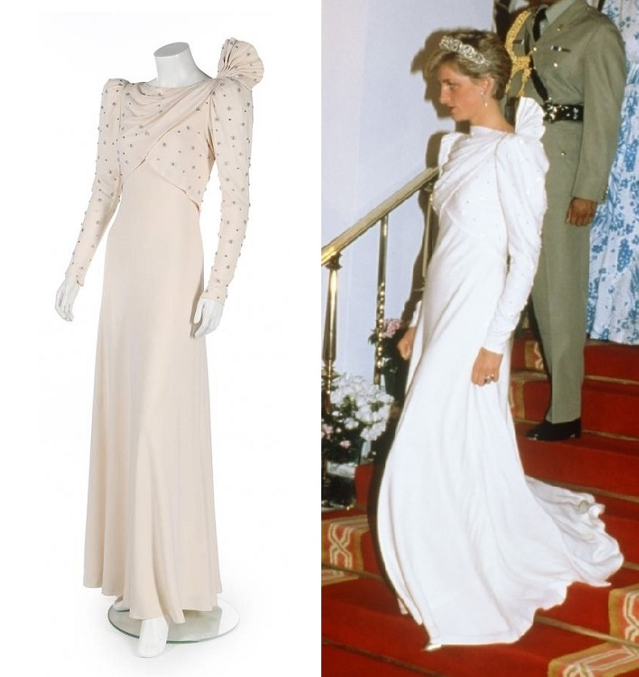 Princess Diana wore the dress in November 1986 to a ball hosted by the Emir of Bahrain