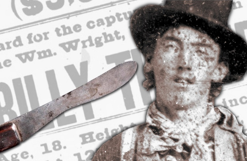 The knife Billy the Kid was holding when he was killed by Pat Garrett could sell for up to $1.2 million.