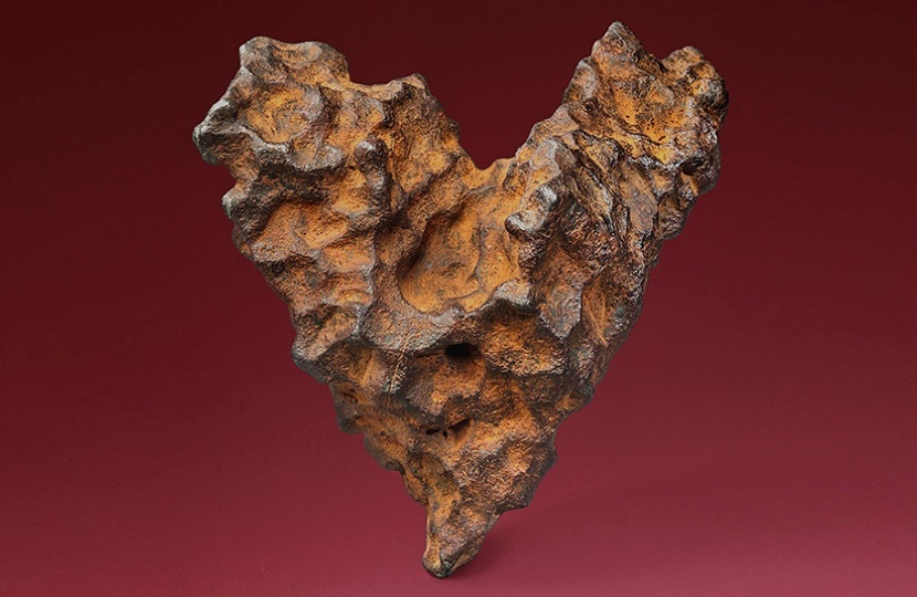 The unique shape of the meteorite has earned it the nickname 'The Heart of Space'