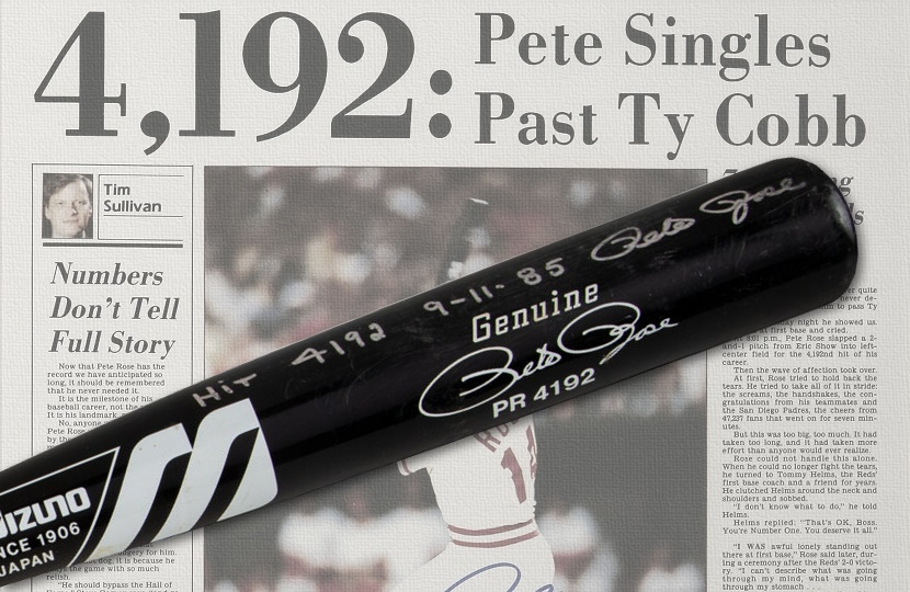Pete Rose's historic 4,192nd hit bat could sell for more than $600,000 at Heritage next month