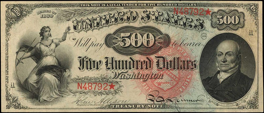 The 1869 $500 'Rainbow' Legal Tender Note, est: $1.5 - $2.5 million
