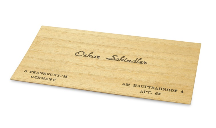 Oskar Schindler's business card, circa 1950s
