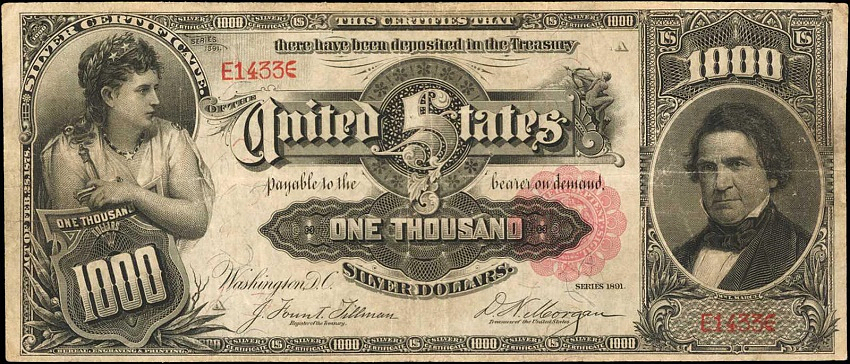 The 1891 $1000 'Marcy' Silver Certificate, est: $2 - $3 million