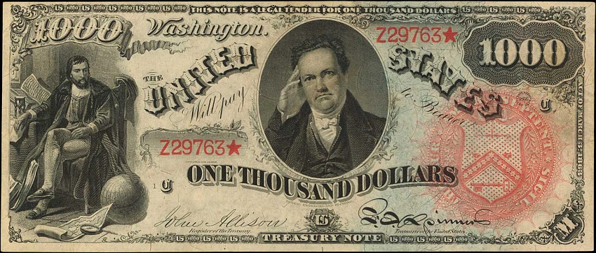 The 1869 $1000 'Rainbow' Legal Tender Note, est: $1.5 - $2.5 million