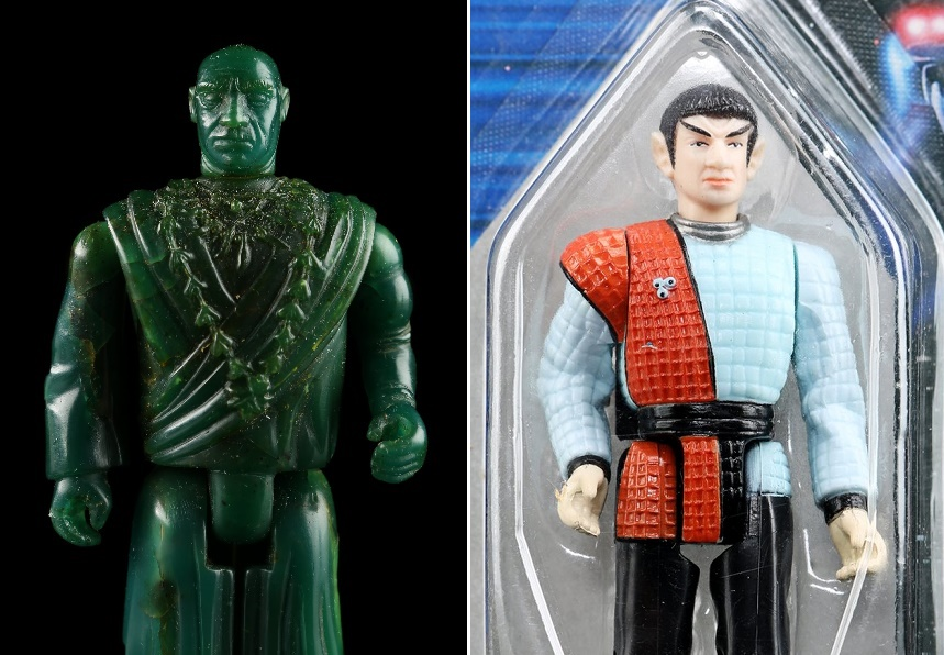 An original Indiana Jones 'Mola Ram' pre-production wax figure sculpture from LJN; and an unreleased Star Trek: TNG Jean-Luc Picard 'Romulan' prototype from Galoob