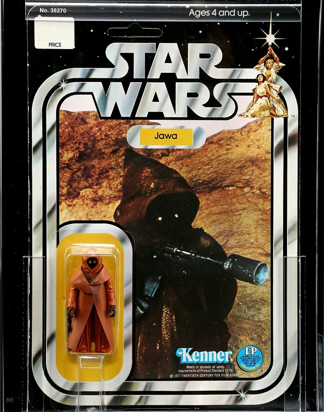 A rare first-release Jawa figure with its original vinyl cape