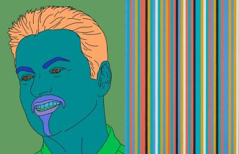 Michael Craig-Martin, Commissioned Portrait Untitled (George), 2007 / Bridget Riley, Songbird, 1982