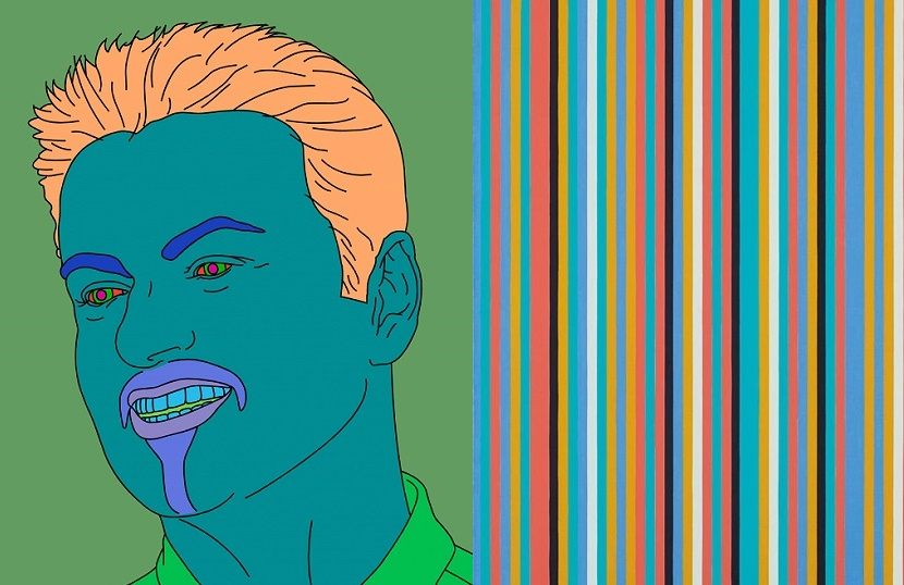 Michael Craig-Martin, Commissioned Portrait Untitled (George), 2007 / Bridget Riley, Songbird, 1982