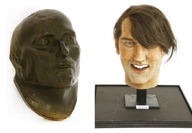 A Napoleon bronze-plated death mask, and a vintage Elvis Presley waxwork dummy head