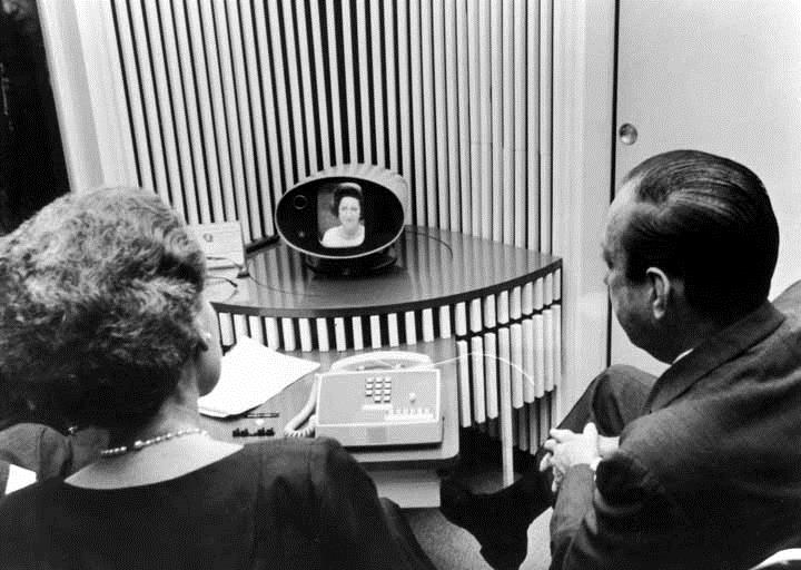 Users testing out the Mod I Picturephone at the New York's 1964 World's Fair