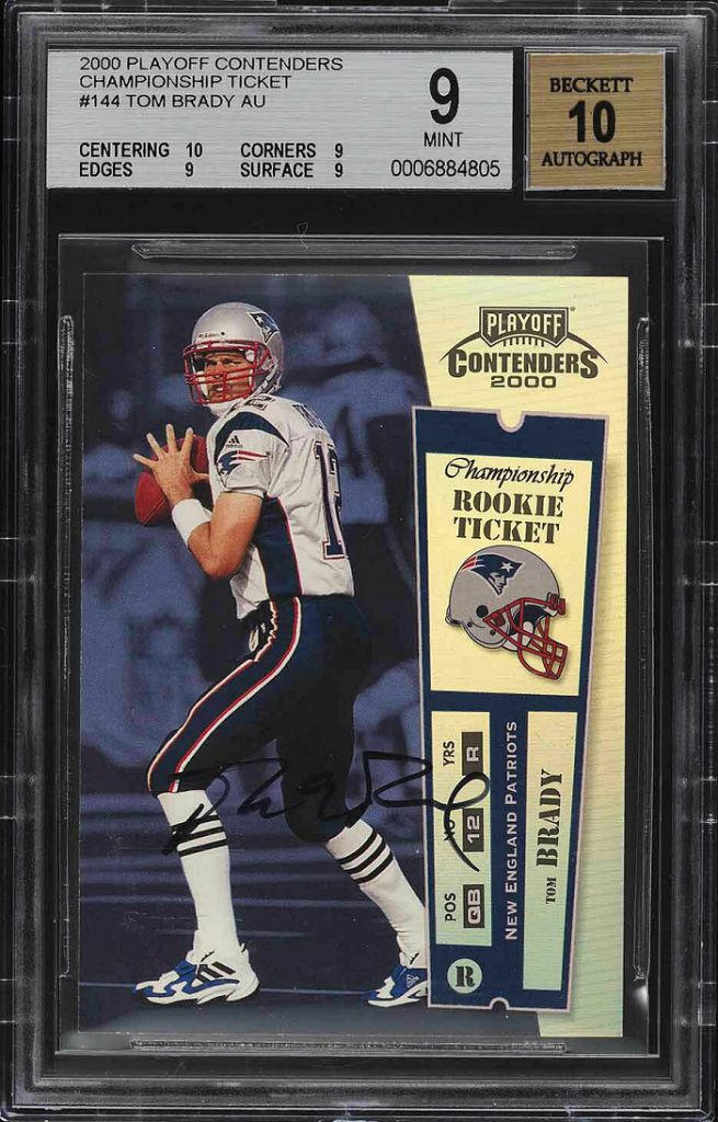 Just 100 of the Playoff Contenders 2000 Championship Rookie Ticket Autograph cards were produced, back when Brady was still an unknown fourth-choice quarterback