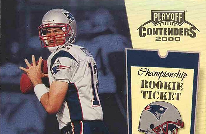 A Tom Brady rookie card, which sold on eBay for a record $400,100 this week