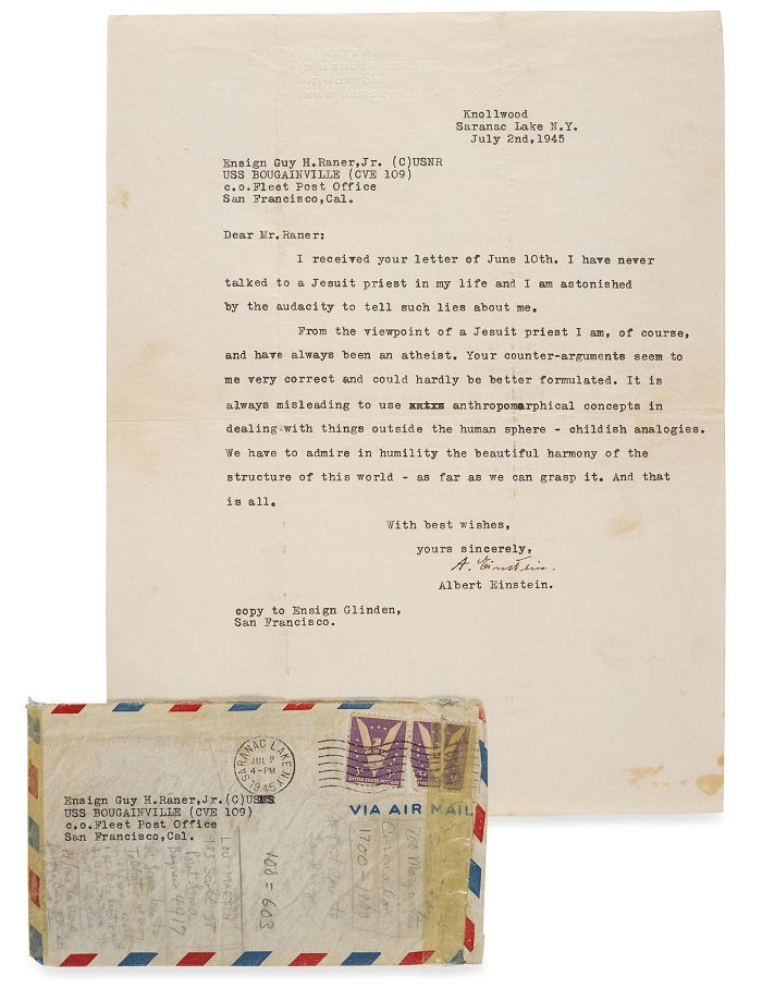 Albert Einstein's 1945 letter on the existence of God, sent to a U.S Navy Officer serving in the Pacific during WWII