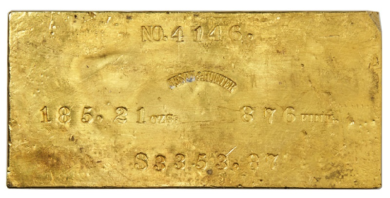 A Justh & Hunter Gold Ingot from the SS Central America