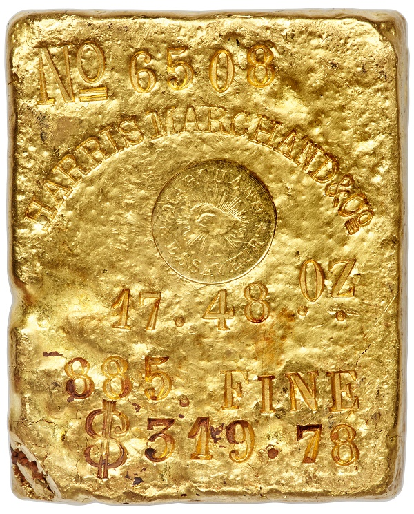 A Harris, Marchand & Co. Gold Ingot from the SS Central America