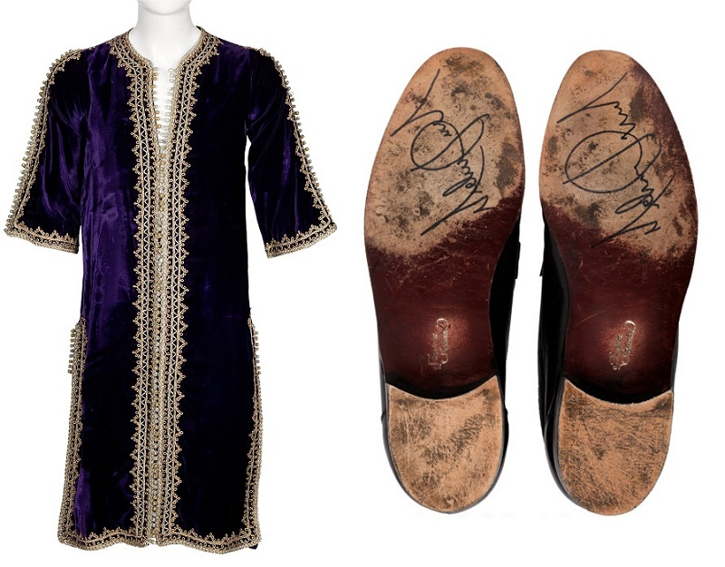 Jimi Hendrix's purple velvet caftan, and a pair of Michael Jackson's stage-worn shoes