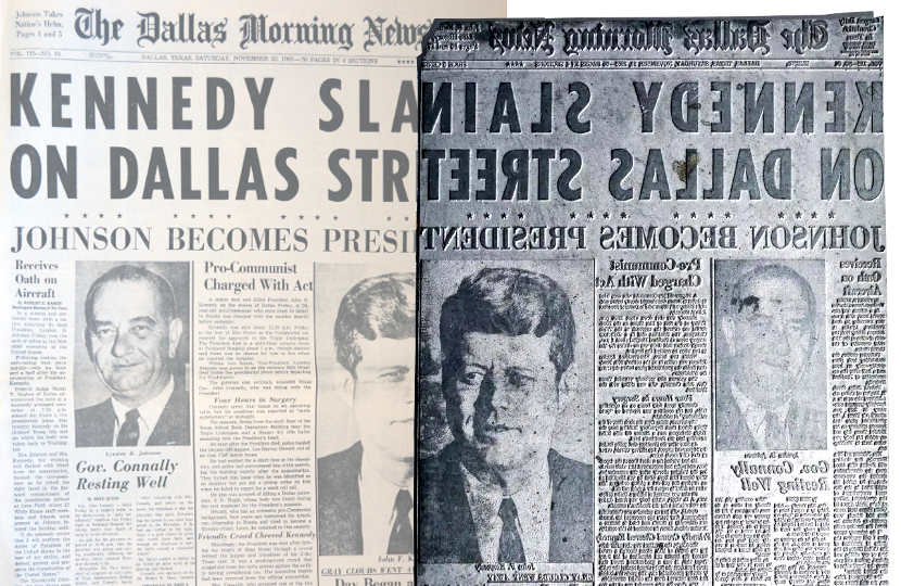 "The unique Dallas Morning News printing plate, bearing the headline ""Kennedy Slain on Dallas Street"""