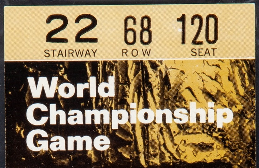 An unused ticket to Super Bowl I, which fetched a new record price of $66,000 at Heritage Auctions