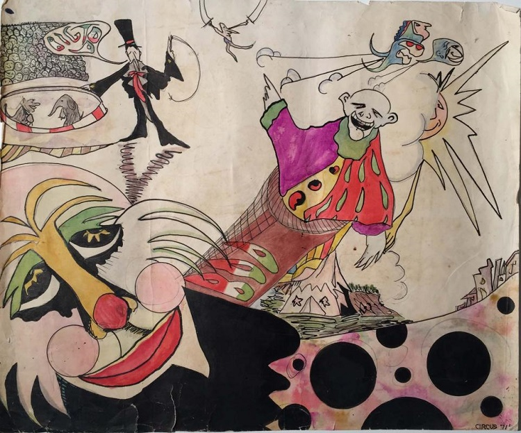 An original John Lennon artwork featuring slightly sinister clowns in a circus big-top.