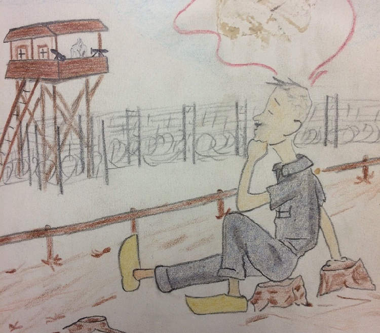 A sketch of an Allied POW at the camp, blithely relaxing in full view of a deadly German gun turret