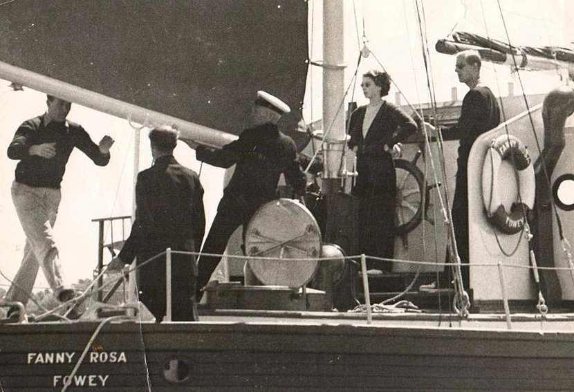 Princess Elizabeth and Prince Phillip aboard the Fanny Roas, the yacht belonging to Dyu Maurier's husband Frederick 'Boy' Browning