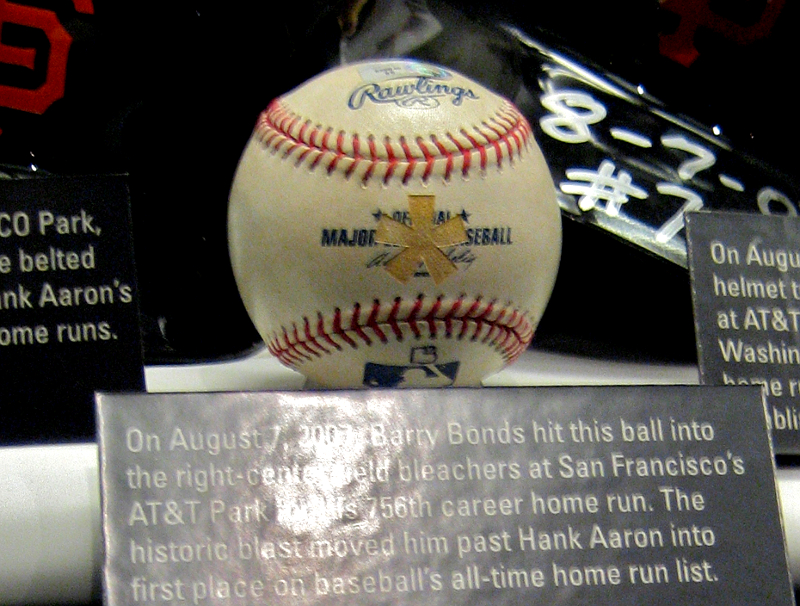Bonds' 756th home run ball, branded with an asterisk and displayed at the Baseball Hall of Fame in Cooperstown