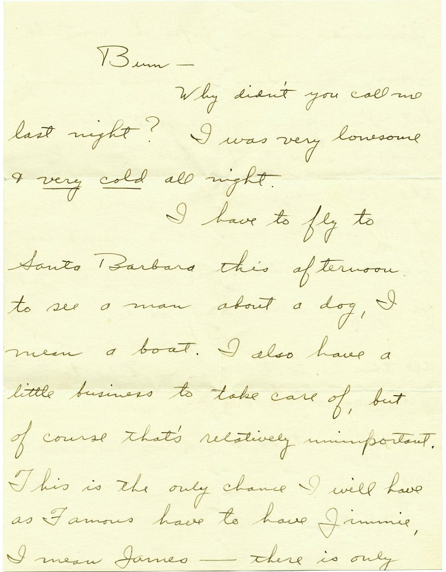 One of Howard Hughes' handwritten letters to Billie Dove