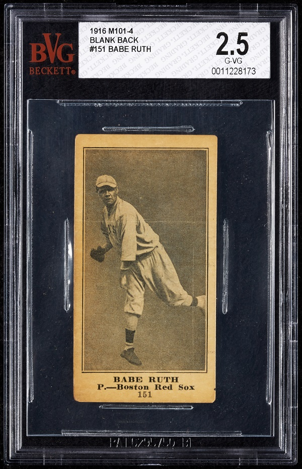 The Babe Ruth M101-4 card was produced in 1914, during his rookie season as a pitcher for the Boston Red Sox