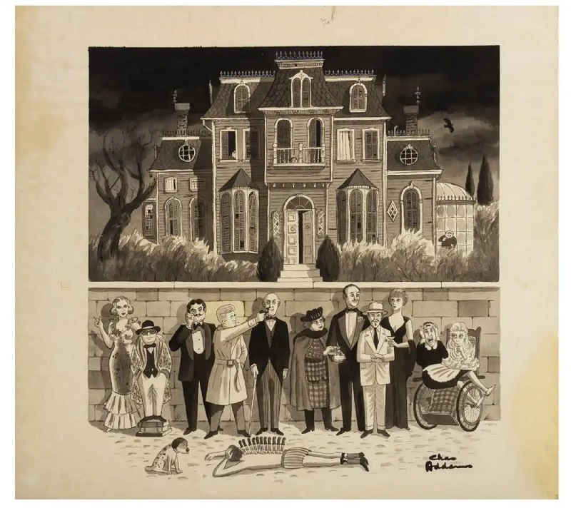 Murder by Death poster artwork by Charles Addams
