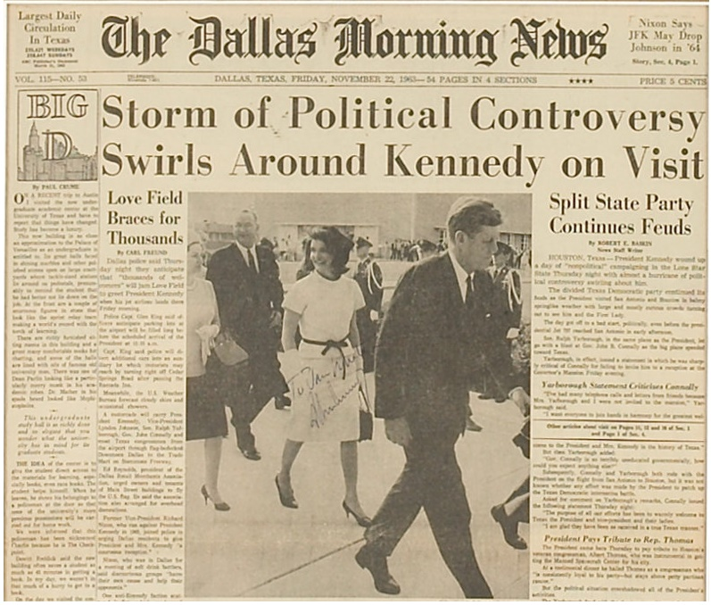 A copy of the Dallas Morning News signed by John F. Kennedy on the morning of his death, which sold at Heritage Auctions in 2009 for $39,000.