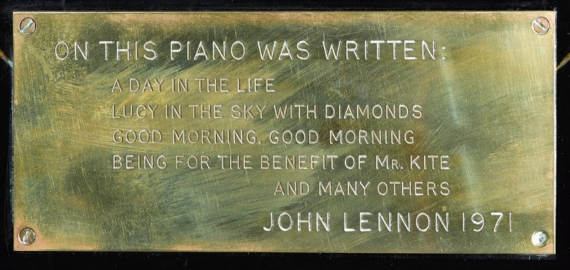John Lennon attached this plaque to the piano before presenting it to a friend in 1971