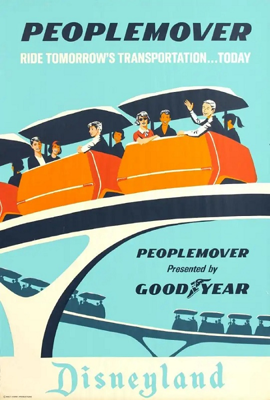 Vintage Disneyland 'PeopleMover' attraction poster