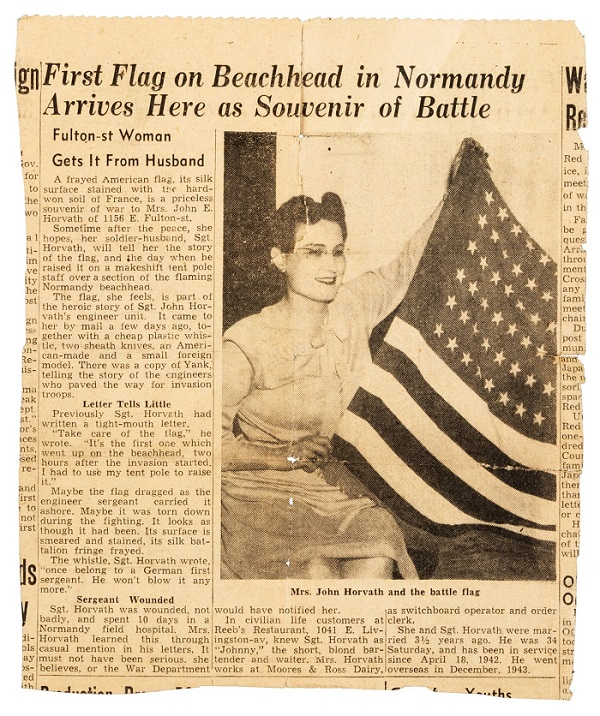 Mrs Horvath recieved the flag from her husband in August 1944, and proudly displayed it in a local newspaper article